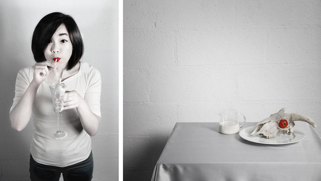 © Charles Roux - Portrait of Yen-Chun Chen, still life with milk and skull